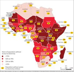 The International Energy Agency says 620 million people in Africa lack access to electricity, which represents half the world's population not linked to the grid. Numbers inside the yellow dots indicate population in millions lacking power in each nation. From the IEA's World Energy Outlook in 2014.
