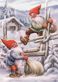 2 Elves Climb Fence Delivering Presents Jenny Nystrom Holiday Christmas Counted Cross Stitch or Counted Needlepoint Pattern Christmas Gnome, Vintage Christmas, Christmas Holidays, Christmas Cards, Norwegian Christmas, Scandinavian Christmas, Illustration Noel, Christmas Illustration, Yule