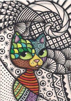 ACEO-Zentangle-Cat-Original-Art