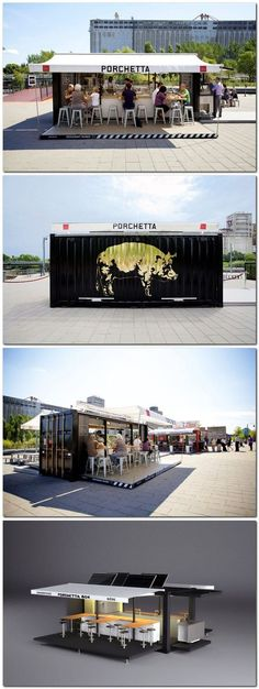 "Lab Tampa pop up booth idea designed by USF STUDENTS porchetta shipping container kiosk CT Notes: Maybe we do this instead of a ""bricks and mortar"" cheese shop, when we are ready for that step! Container Architecture, Container Buildings, Decoration Restaurant, Restaurant Design, Mobile Restaurant, Kiosk Design, Cafe Design, Design Food, Food Truck Design"