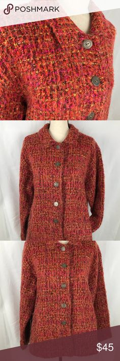 Chico's 3 XL 1X Jacket Wool Knit Fuzzy Tweed Coat Chico's size 3 wool blend Jacket  Women's size XL 1X Fuzzy Knit  Very good condition chicos Jackets & Coats