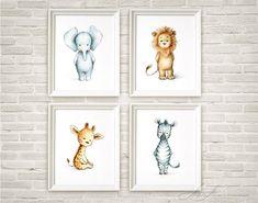 Set of 4 Safari Animal Prints - Printable Art - Animal Nursery Set Prints - Giraffe, Elephant, Lion, Zebra - Nursery Art - Nursery Decor by AnnaAbramskaya on Etsy
