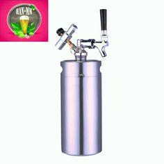HAN-MM 128 oz Stainless Steel Mini Keg Growler with Steel Mini Keg Dispenser( regulator and keg )