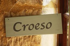 """Give a warm Welsh """"welcome"""".  Handmade wooden sign from Wales - from thebrocante.co.uk"""