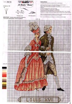 0 point de croix mode femme homme époque Louis XVI - cross stitch woman and man fashion era Louis XVI
