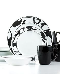 Corelle Dinnerware Noir 16 Piece Set - Casual Dinnerware - Dining u0026 Entertaining - Macyu0027s  sc 1 st  Pinterest & Better Homes and Gardens 16-Piece Dinnerware Set Tuscan Red | Best ...
