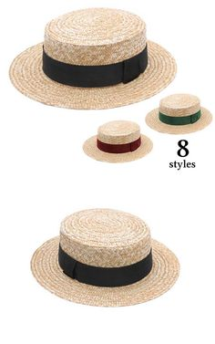 c56fc5f1ded Boater Straw Hat Sun and summer hat women s or Boater