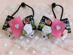 Kids Accessories 114 SALE トランプと薔薇リボン王冠柄黒×白ハンドメイド インテリア 雑貨 Handmade ¥150yen 〆05月27日