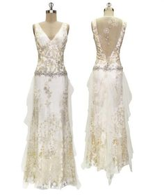 dandelion back fairy wedding gown