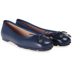 Laila Leather Ballet Flats ($118) ❤ liked on Polyvore featuring shoes, flats, blu, womenshoesflat shoes, leather slip on shoes, bow ballet flats, blue flats, navy blue ballet flats and bow flats