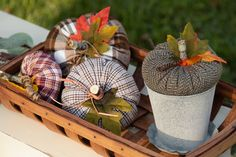 Easy Goodwill shirt pumpkins. Cozy pumpkins made with old shirts are a breeze to make.
