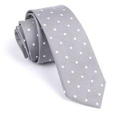 Mens Skinny Tie 6CM Grey White Polka Dots (X240-ST6) Ties Thin Narrow Slim Men Neckties Necktie Wedding Formal Suit Australia Melbourne by OTAA on Etsy https://www.etsy.com/listing/153984793/mens-skinny-tie-6cm-grey-white-polka