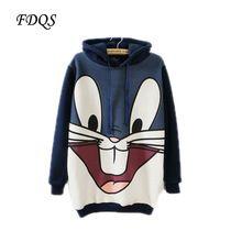Korea cartoon rabbit long Hooded Fleece sweatshirt womens winter print Hoodies Patchwork Casual Sportswear plus size sport suit(China (Mainland))