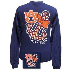 Navy blue long sleeve Auburn chevron anchor T-shirt. 100% preshrunk cotton.