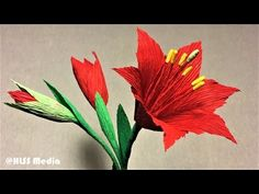 (61) How to make amaryllis paper flower|making beautiful origami amaryllis with crepe paper tutorials - YouTube
