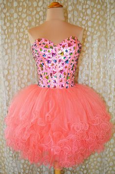 Sweetheart Beaded Tulle Coral Pink Short Prom Dress