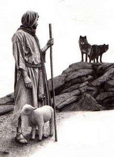 """I am the Good Shepherd; the Good Shepherd lays down His life for the sheep,"" John love the power of this image.the enemy waits for us to wander away from the protection of our Savior so he can devour us.We are safe when we stay close to Jesus. Lord Is My Shepherd, The Good Shepherd, Jesus Shepherd, Image Jesus, Jesus Art, Prophetic Art, Biblical Art, Jesus Pictures, Stairway To Heaven"