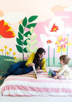 Making a hand drawn wall mural interveiw with Audrey Smit of This Little House Part Of Hand, Deco Kids, Wall Murals, Wall Art, Bedroom Murals, Hand Painted Walls, High School Art, Mural Painting, Floral Wall