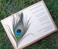 Peacock feather wedding invitation  gold by TheExtraDetail on Etsy, $4.50