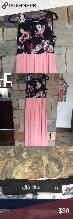 Floral Maxi Dress Long maxi dress. Top is black with pink and tan flowers and bottom is pink. Only worn once Dresses Maxi