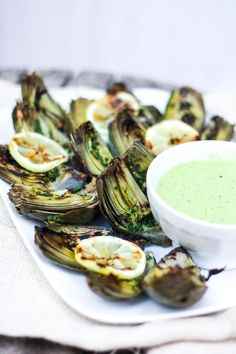 The Rise Of Private Label Brands In The Retail Meals Current Market Grilled Artichokes With Basil Aioli Vegan Adaptable And Simple Herb Oil - A Delicious Way To Serve Artichokes Grilled Artichoke, Artichoke Recipes, Lunch Snacks, Clean Eating Snacks, Healthy Eating, Dinner Healthy, Vegan Appetizers, Appetizer Recipes, Bbq