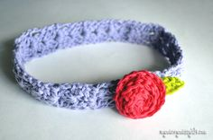 Free Crochet Patterns for a Cluster V-Stitch Headband and Rosette - mymerrymessylife