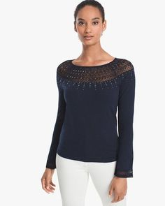 White House Black Market Embellished Lace-Yoke Sweater