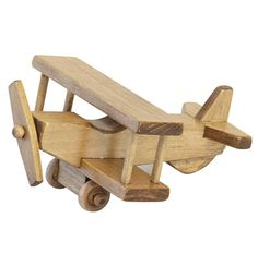 Amish Handmade AIRPLANE WOOD TOY Small Bi Plane Hand Made in USA Toy