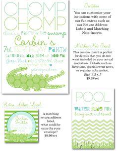 gator party, gator invites, polka dot croc party, crocodile party invitations, party box design, chevron party invites, gator party invite