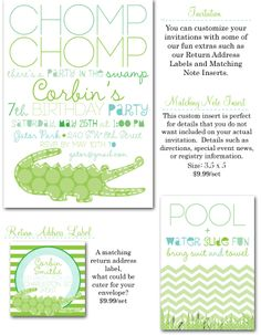gator party, gator invites, polka dot croc party, crocodile party invitations, party box design, chevron party invites, gator party invite