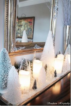 Winter Tree display -- Home of Marc (decorator with Encore Fine Furnishings) via Southern Hospitality
