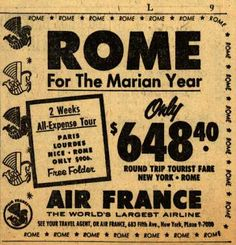Air France's Rome – Rome For The Marian Year (1954)