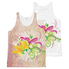 Floral Fasion 15 Options All-Over Print Tank Top Tank Tops