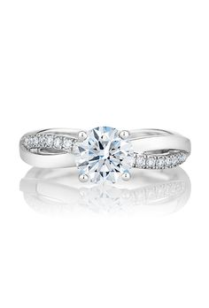 """""""Infinity"""" engagement ring featuring a round brilliant-cut center diamond Popular Engagement Rings, Platinum Engagement Rings, Platinum Ring, Engagement Ring Styles, Solitaire Engagement, De Beers Engagement Rings, Infinity Engagement Rings, Infinity Rings, Infinity Jewelry"""