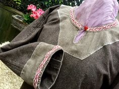 Viking all hand stitched Donegal wool, natural linen and handwoven tabletweave