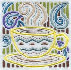 Cotton Dish Towel - Genuine Flour Sack Towel - Mola Cuppa Joe Square - Made-to-order by SheSews for $7.00