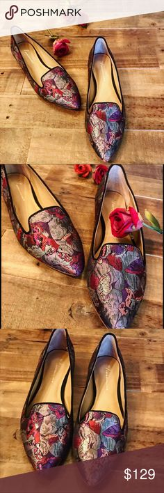Anthropologie brocade pointed flats Anthropologie brocade pointed flats. There broaches butterfly motif shoes, will elevate any casuals wear to a stylish chic, effortless look. Pair with your favorite denim or a pencil skirt. Wear it to work or a night out. NWT. Anthropologie Shoes Flats & Loafers