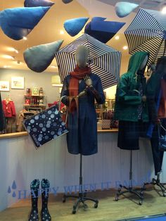 Seasalt's 'Raindrops' window in Falmouth. January 2015. Designed and handmade by Seasalt's window design team.