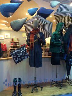 Seasalt's 'Raindrops' window in Falmouth. January 2015. Designed and handmade by Seasalt's window design team.