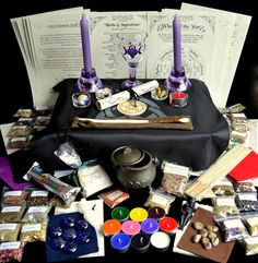 HUGE WITCHES STARTER & ALTAR SET ~Herb kit/Wicca/Pagan/Wand/Chalice/Cauldron~