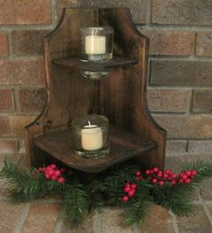 Rustic Wood Candle Holder Shelf Stand Vintage Glass Insulator Reclaimed Primitive corner stand by dlightful designs