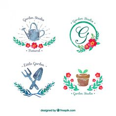 Watercolor garden badges Free Vector