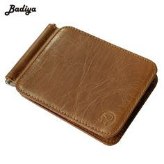 High Quality New Genuine Leather Men's Money Clip Wallet Male Credit Card & ID Holders Mini Cow Leather Money Clips Wallets