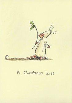 A Christmas Kiss - Anita Jeram - - Anita Jeram – A Christmas Kiss - Christmas Illustration, Children's Book Illustration, Anita Jeram, Christmas Kiss, Cute Mouse, Watercolor Cards, Xmas Cards, Animal Drawings, Illustrators