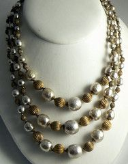 Miriam Haskell Baroque Pearl and Russian Gold Bead 3 Strand Necklace - Vintage Lane Jewelry - 3
