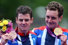 The Brownlee brothers celebrating after winning gold and bronze medals in the triathlon. | 39 Emotional Moments From The Olympics That Are Worth Reliving