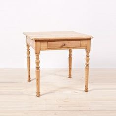 Antique German Side Table in Pine with Turned Legs and Drawer, c. 1850 Antique Pine Furniture, Antique Tables, Antiques For Sale, Vintage Antiques, Asian, Center Table, Vanity Bench, Side Tables, Drawer