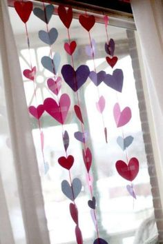 Make a heart garland for a Valentine's Day window! Scissors and fine motor practice for preschoolers to cut out hearts and tape up together hearts! Make a heart garland for… Preschool Valentine Crafts, Valentine Activities, Craft Activities, Crafts For Kids, Valentines Day Party, Valentines For Kids, Funny Valentine, Valentines Day Decor Classroom, Holiday Crafts