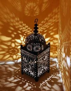 another moroccan lamp - love the way the lighting spreads across the walls. Morrocan Lamps, Moroccan Lighting, Moroccan Lanterns, Moroccan Design, Moroccan Decor, Moroccan Style, Moroccan Garden, Moroccan Bedroom, Moroccan Interiors