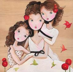 Three Friends Art Sisters Best Friends Art Print by woodwings Mother Daughter Art, Mother And Child, Sisters Forever, Friends Forever, Three Friends, Best Friends, Illustrations, Illustration Art, Love My Sister
